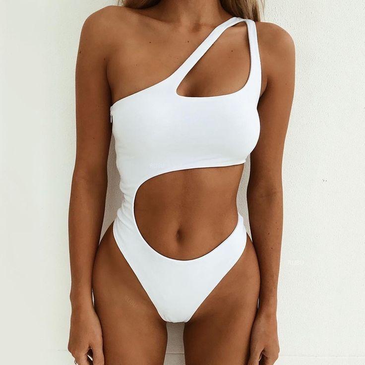 Sexy One shoulder swimwear White one piece swimsuit women