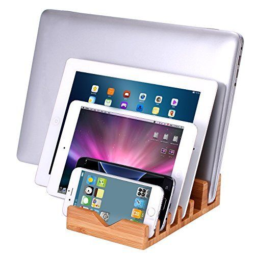 icozzier 6 slots bamboo charging station stand dock multi device organizer for small laptops iphone