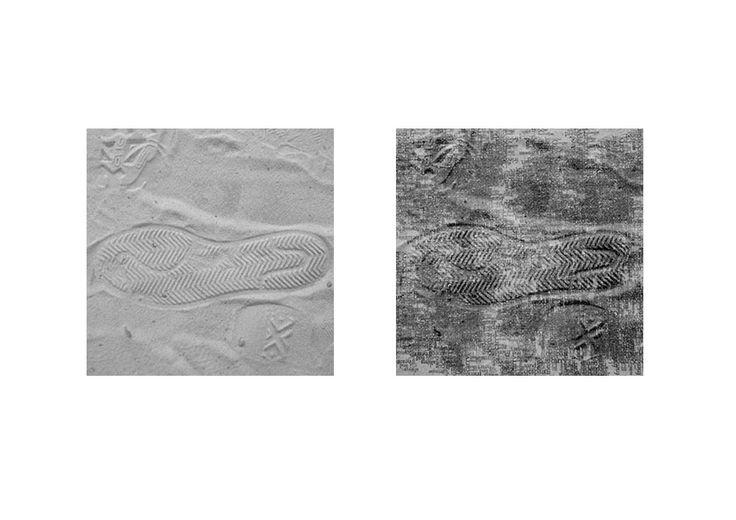 Deze textuur, is een textuur van een voetafdruk in het zand. Je ziet dat er in de korrelige structuur van het zand een patroon met een lichte diepte werd gevormd. Dat maakt dat het zand bepaalde schaduwen vangt. De textuur is niet vast maar los en dan ook veranderbaar.