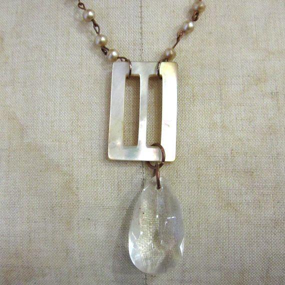 vintage 1920's mother of pearl belt buckle necklace