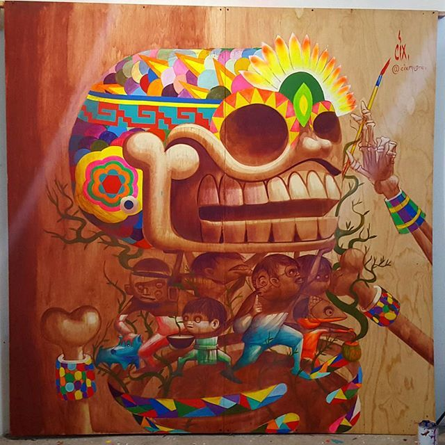 """""""DE VISITA""""  Comisión para la fiesta """"OCELOTL"""" puro pshico  esperenla  muy pronto.... #contemporaryartist #artcollectors #mexicosurrealista #fiestamexicana #coloresmexicanos #México #vivalavida #vivelavie #cixmugre #cix #psicodelic #flourescent #art"""