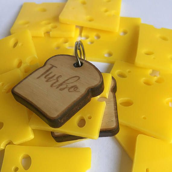 Sandwich custom dog tag Slice of bread and cheese wood and