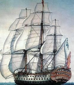 Navio Santisima Trinidad - launched in Havana in 1769 with 120 cannons (later 136) and the largest ship afloat. The Holy Trinity was sunk by enemy action being towed back to Britain after surrender at the Battle of Trafalgar.