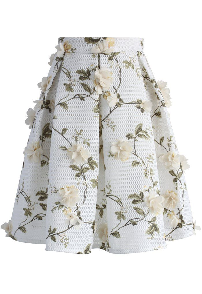 Let's Blossom on a Mesh Skirt - Retro, Indie and Unique Fashion