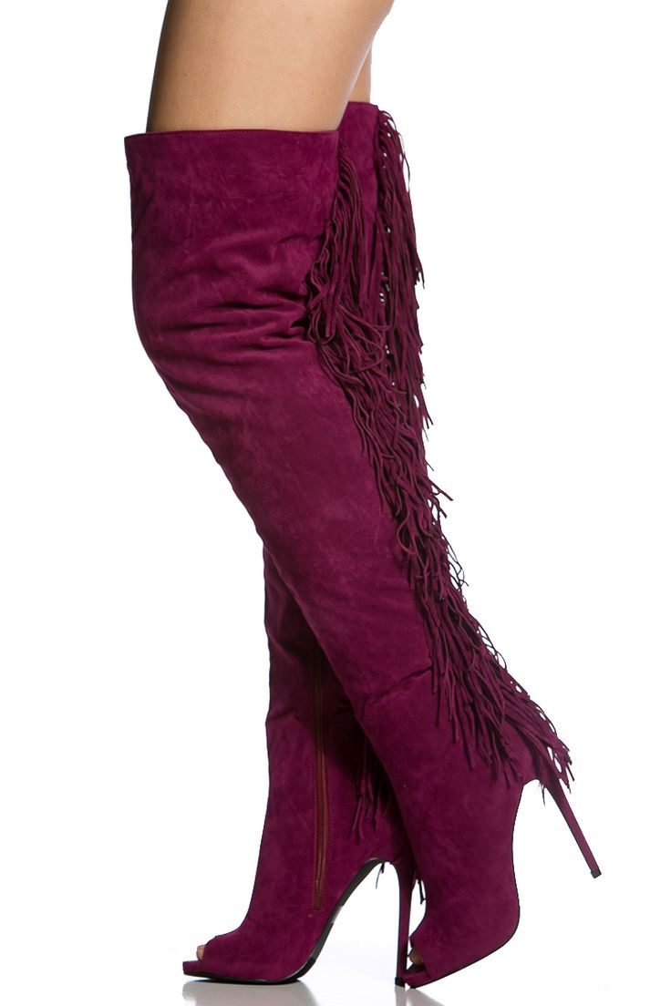 Plum Faux Suede Thigh High Fringe Peep Toe Boots Cicihot