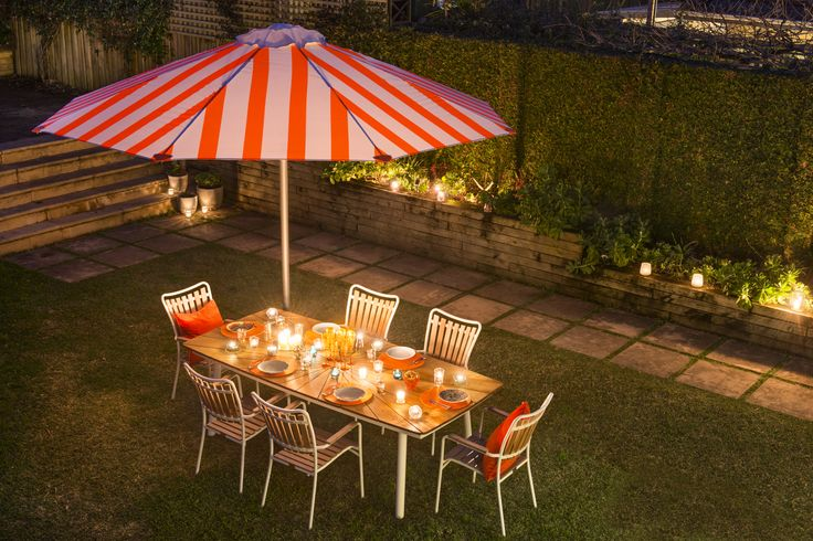 A beautiful addition to any outdoor setting. Duchess & Deco custom striped outdoor umbrella.  #duchess&deco #customoutdoorumbrella