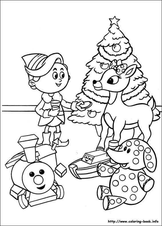 Rudolph dentist elf and misfit toys color page christmas - Laminas de navidad para colorear ...