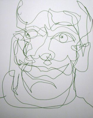 'First Left-Handed Blind Contour Drawing' magic marker self-portrait drawing by San Francisco Bay Area artist Julia Kay. (Click to view same...
