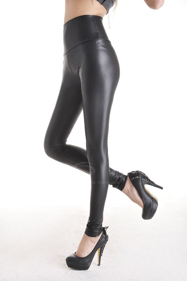 Fitted Style High Elasticity Solid Color PU Leather Pants