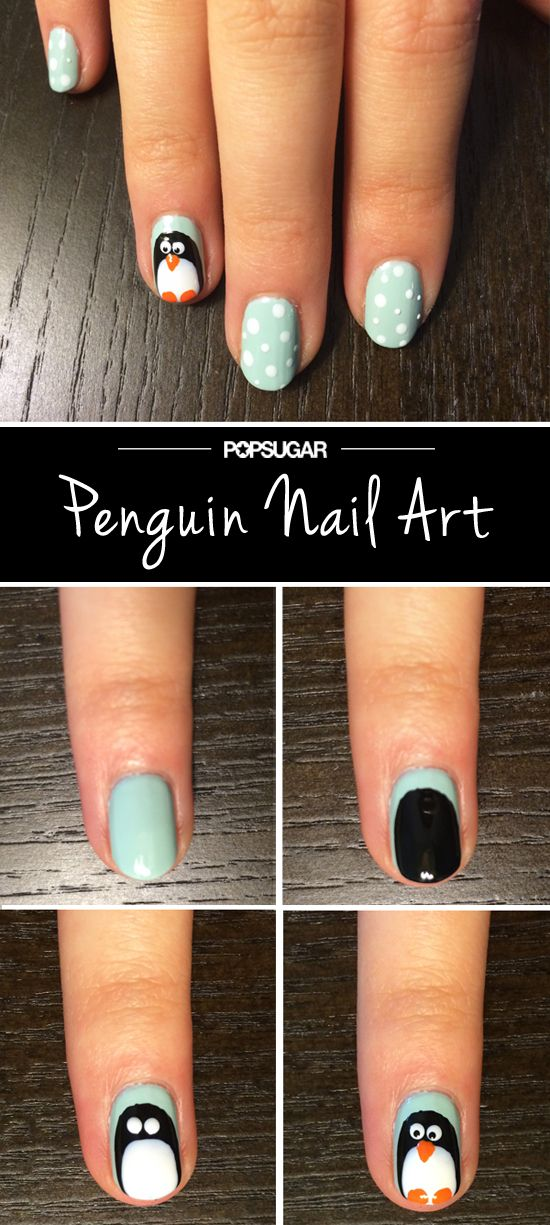 This is the cutest nail you'll see all winter long. Let it snow! #Penguins @POPSUGARBeauty