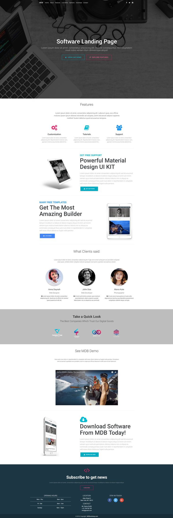 Software Landing Page Template created with Material Design for Bootstrap