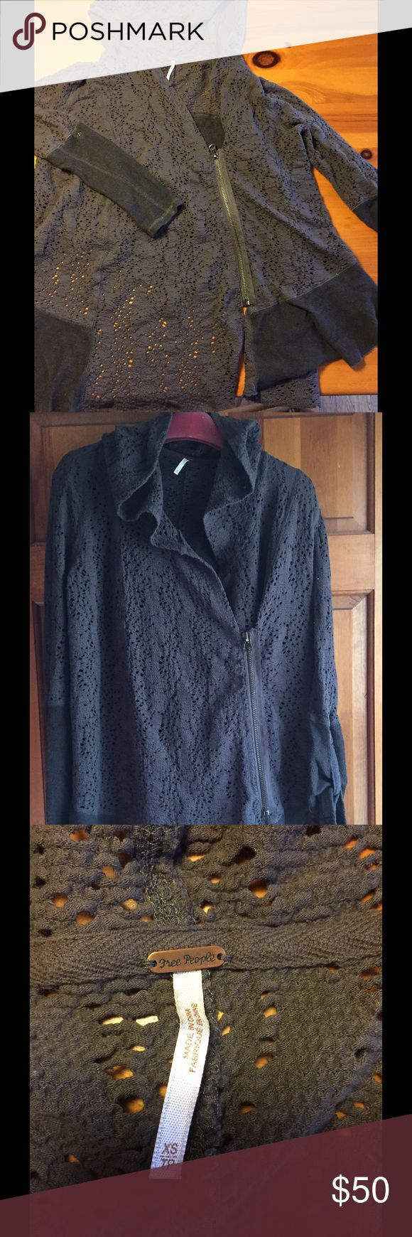 Women's Free people long cardigan Women's Free People long cardigan. Asymmetrical zip with hood. Lace crochet detail with optional button up sleeves. Worn once! Free People Sweaters Cardigans