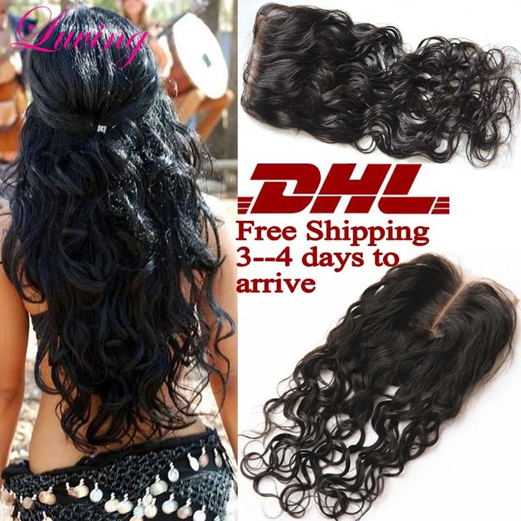 """DHL Fast Shipping 7A Rosa Hair Closure Brazilian Water Wave Closure, 4x4"""" Free 3 part Lace Closure Bleached Knots Natural Wave"""