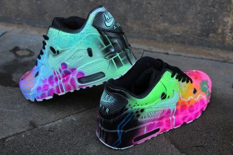 "Benutzerdefinierte Nike Air Max 90 Funky Galaxy Farben Graffiti Airbrush Sneaker Art ""UNIKAT"" Schuhe"