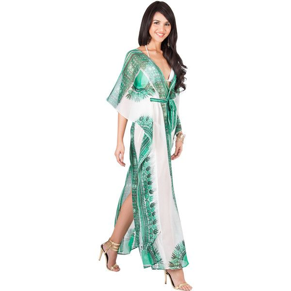 KOH KOH MONIQUE - Sexy Long Kaftan Short Sleeve Wrap Maxi Dress ($52) ❤ liked on Polyvore featuring swimwear, cover-ups, green, sexy bathing suits, sexy beach cover ups, beach cover ups, long beach cover ups and swim suit cover up