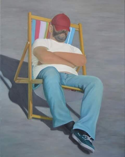 FINEARTSEEN - View Doing Nothing by Lidimentos. A beautiful original portrait oil painting of a man on a deckchair at the beach. Available on FineArtSeen - The Home Of Original Art. Enjoy Free Delivery with every order. << Pin For Later >>