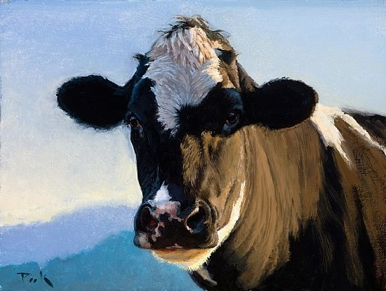 Holstein cow; Spring Portrait painting by carol peek  Giclee ~ 9 x 12