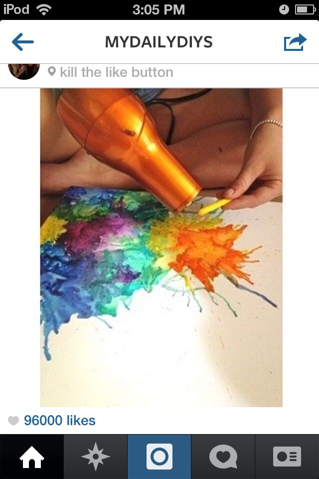 This is a great art project for teens and it is really easy. All you need is a hairdryer, crayons (colors of your choice), and a cancas. These are all home items!