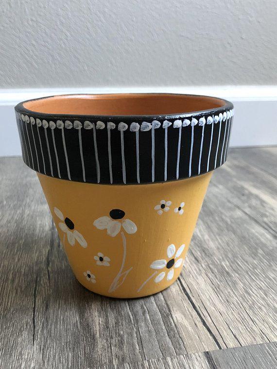 Hand Painted Flower Pot Etsy Painted Flower Pots Painted Pots Diy Plant Pot Diy