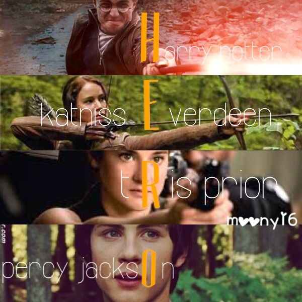 Harry potter, katniss everdeen, tris prior, percy Jackson - HERO