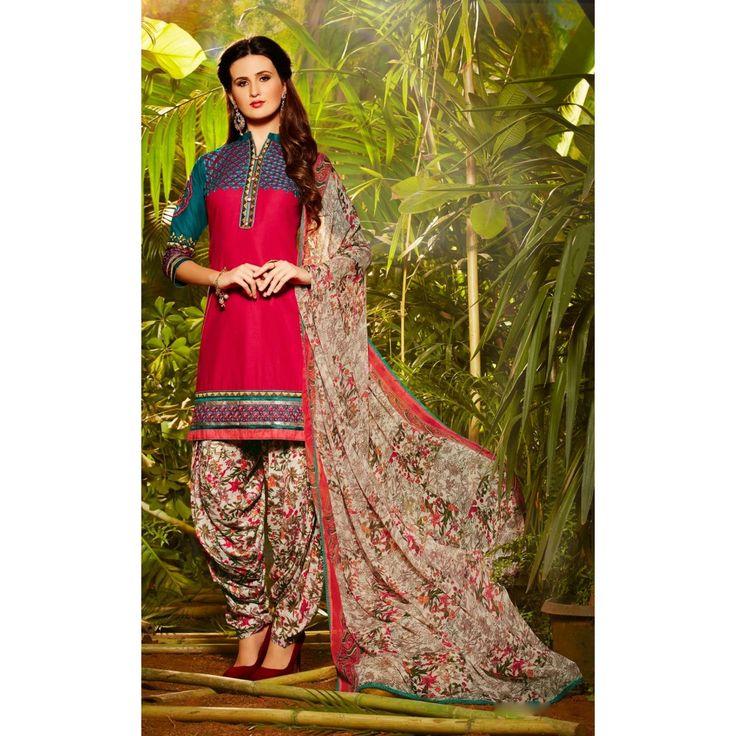Red and Green Cotton Indian #Patiyala Kameez- $28.97