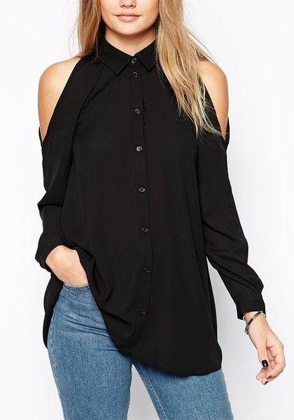 Lookbook Store Black Cold Shoulder Button-down Shirt                                                                             Source