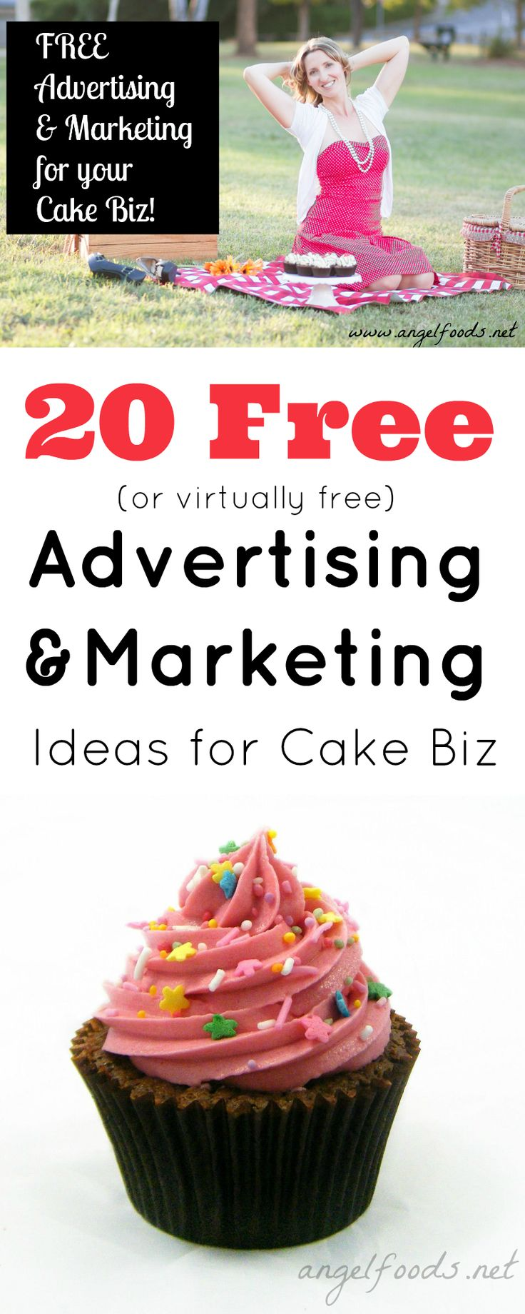 20 Free Advertising & Marketing Ideas for a Cake Business | Free Advertising and Marketing, How to Get More Bang For Less Buck! You want to advertise but don't know where and are on a budget. I have 20 free ideas for ... | http://angelfoods.net/free-advertising-marketing-for-a-cake-business/