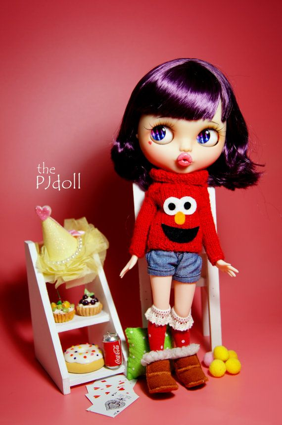 thePJdoll reserved for Paty HI ELMO Custom Blythe by ThePJdoll
