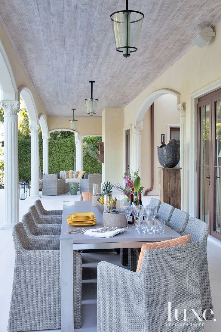 Transitional Covered Outdoor Terrace
