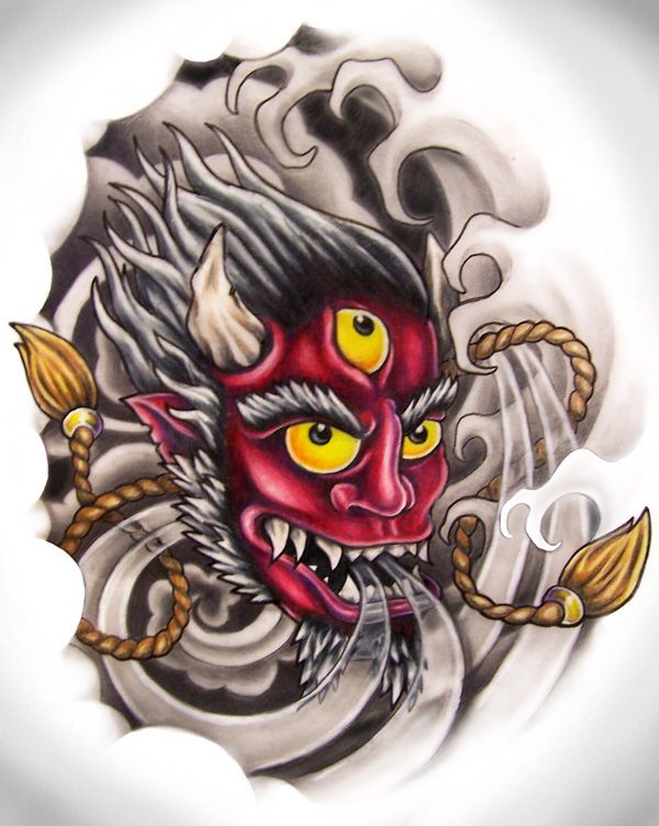Oni Mask Tattoo Designs   Free Download Oni Mask By Zombilly On Deviantart Design #34383 With ...