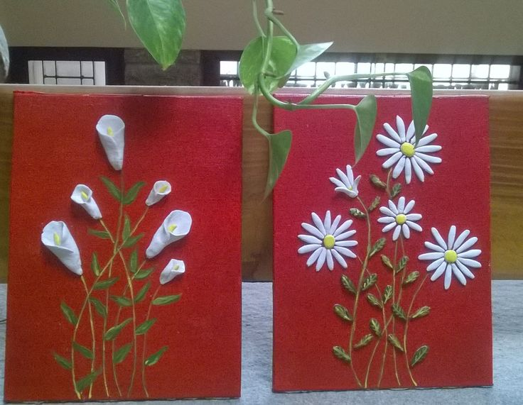 My new work with fevicryl shilpkar flowers on canvas for Clay mural making