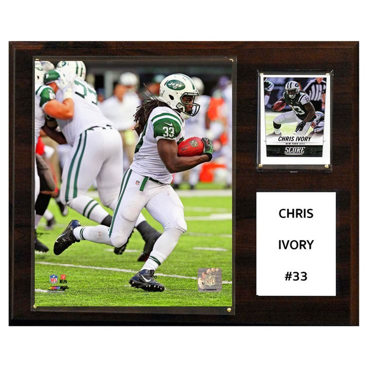 C and I Collectables NFL 15W x 12H in. Chris Ivory New York Jets Player Plaque - 1215IVORY