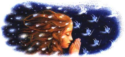 """Герда начала читать """"Отче  наш"""";  было так холодно, что дыхание девочки  сейчас  же превращалось в густой туман. Туман этот все  сгущался и сгущался,  но вот  из него  начали выделяться маленькие,  светлые  ангелочки,  которые,  ступив на землю, вырастали в больших грозных ангелов со шлемами на головах и  копьями  и щитами  в  руках. Число  их все прибывало, и когда Герда окончила  молитву, вокруг нее образовался  уже  целый  легион."""