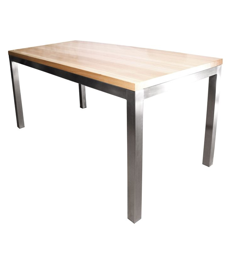 Tasmanian oak timber table top with stainless steel frame
