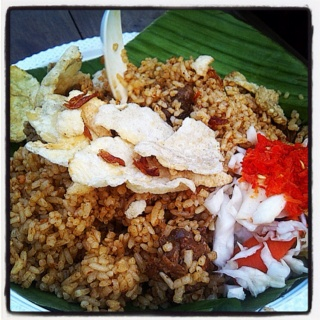 Indonesian lamb fried rice. Located on Kebon Sirih street.. Delicious..!