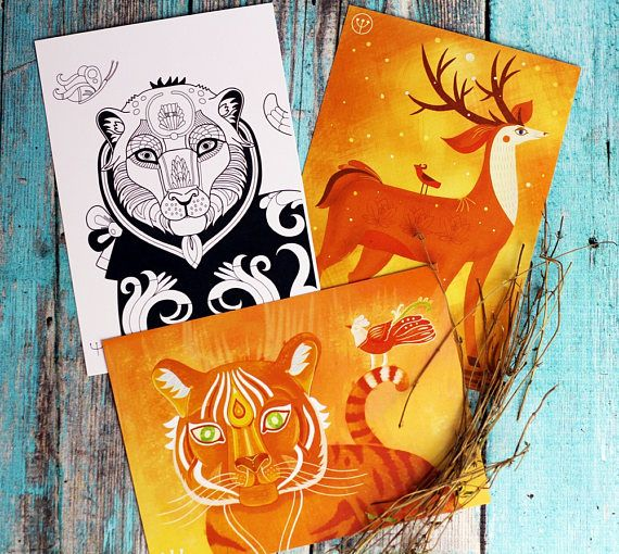 Art Postcards Animal Postcards Watercolor Animal Watercolor Nursery Animal Postcard Set Postcard Watercolor Art Set Watercolor Animals For Nursery Art Baby Art Coloring Pages Art  Animal greeting card set fox watercolor card cute postcard animal art thank you card cat art watercolor painting card animal  Set of 3 postcards with the authors pattern 1) Woodland Fairy deer 2) Wise Tiger 3) Amazing Tiger (adult coloring card)  size: 3,9 : 5,9 inch  Lovely cards with authors design have caught…