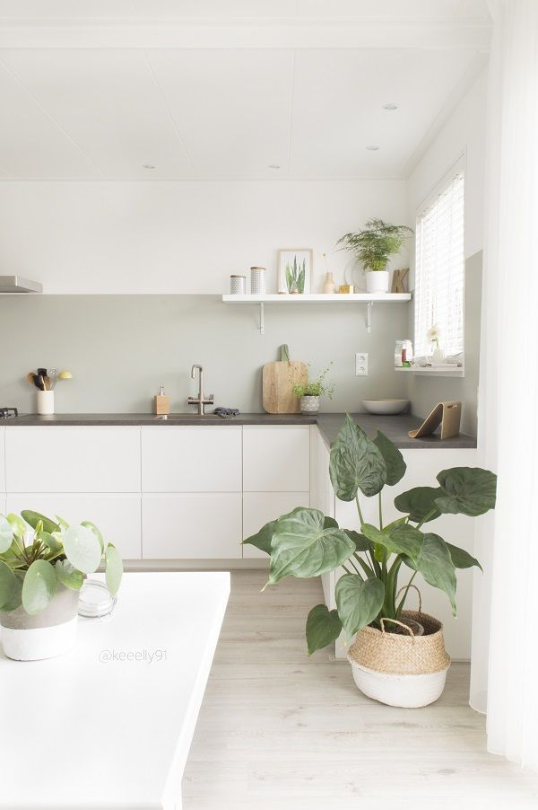Love this minimalistic kitchen interior design for my future dream home. Simple, clean, white and green. House goals.