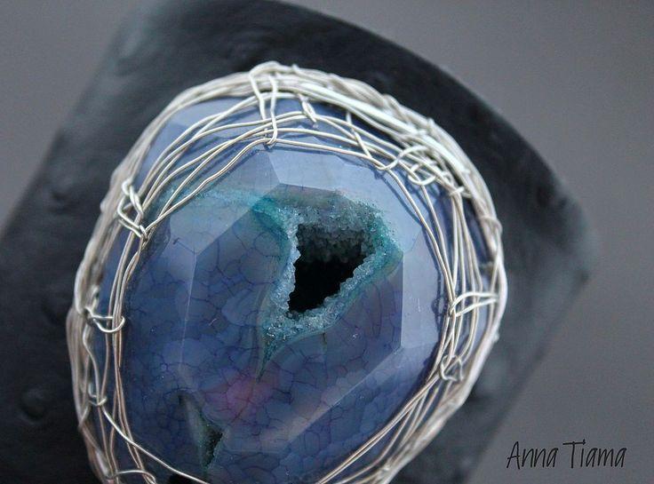 """Купить Браслет """"Cosmic"""" - серый, дымчатый, серо-синий, агат, крупный камень, браслет с камнем"""