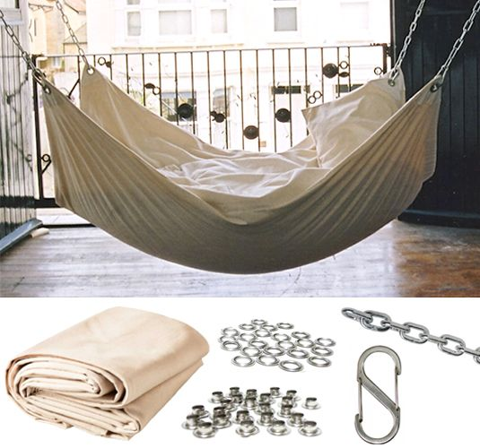 DIY canvas hammock.  No directions but it looks pretty straight forward.