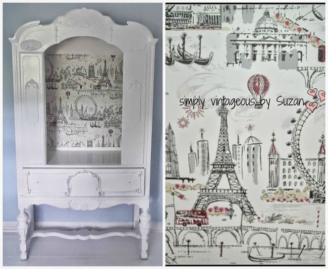 paris themed armoire, painted furniture