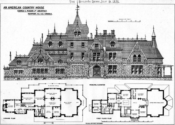 1875 Country House Newport Rhode Island Usa Archiseek Irish Architecture In 2020 Architectural Floor Plans Mansion Floor Plan Vintage House Plans