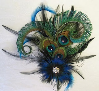 Peacock hair bow to clip to Maddie's headband