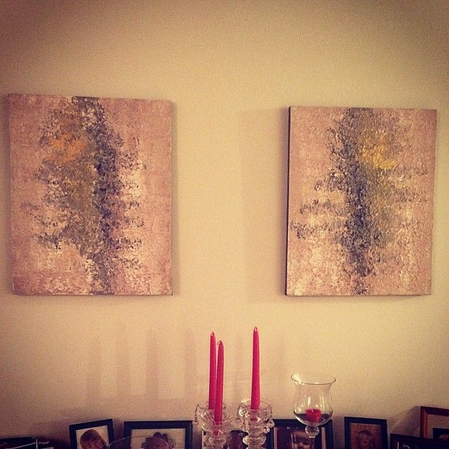 "Enda et par hos ""galleri svigermor"" - lerret på tynn ramme 30x50 cm med akryl- og oljemaling. #acryl #painting #acrylic #akrylmaling #kunst #maleri #malerier #artwork #sold"