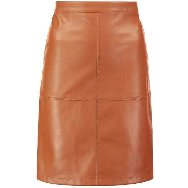 Vila VIPEN NEW Kynähame ($42) ❤ liked on Polyvore featuring knee length pencil skirt, pencil skirts, brown pencil skirt and brown skirt