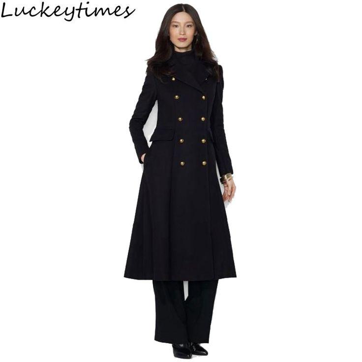 Women Double Button Slim Black Long Wool Coat 2017 Autumn Winter Ladies Woolen Fashion Outerwear Girls Suit Collar Jackets