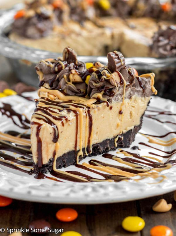 Easy Peanut Butter Pie - A creamy peanut butter pie filling is nestled in an Oreo crust and topped with a dark chocolate whipped cream.