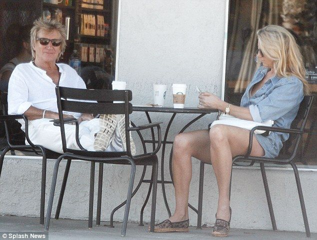 Low-key date: Rod Stewart and Penny Lancaster enjoyed some quality time away from the mayhem of their day-to-day lives as they grabbed a coffee near their home in Studio City on Tuesday