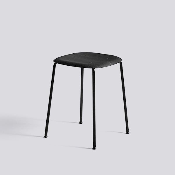 Soft Edge70 Stool Black powder coated steel legs Black stained oak seat/back - HAY