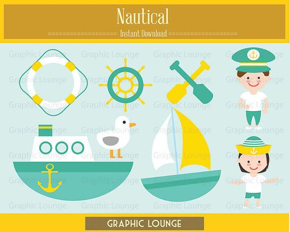 Nautical Clipart. Vector Ship. Sailor. 300 dpi. Eps, Png files. Instant Download.