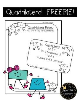 This quadrilateral poem and quadrilateral robot drawing sheet are so helpful for making a difficult concept simple! Quadrilateral Poem: This poem is a simple one I use to help my students remember what a quadrilateral is. My students love saying it with a robot voice.